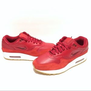 Nike Air Max 1 Premium Gym Red Womens Running Shoe